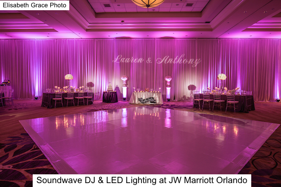 Soundwave Entertainment - JW Marriott Orlando - Orlando Wedding Venues - Orlando Wedding DJs - LED Lighting Design