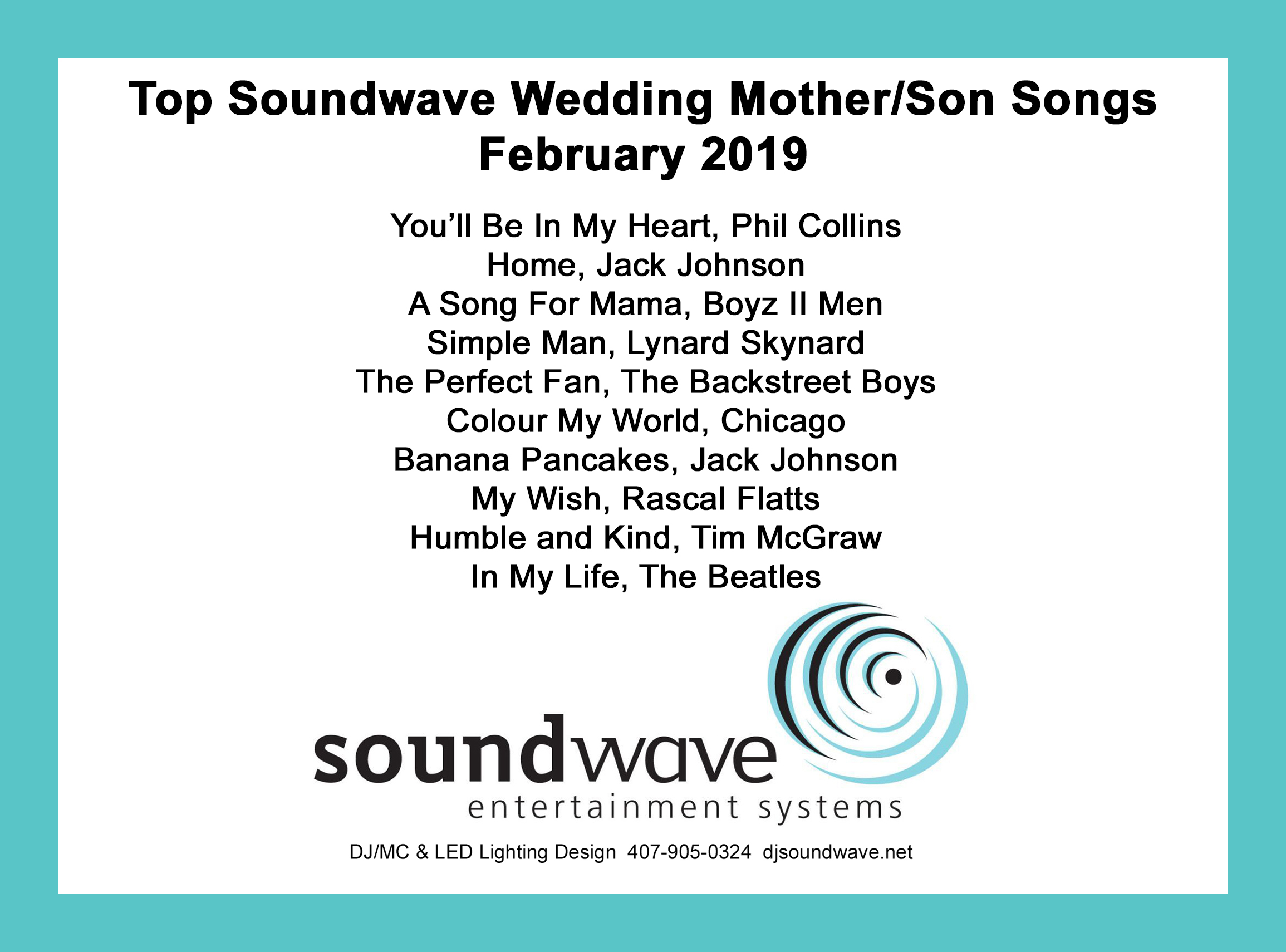 mother son dance songs - orlando wedding dj - orlando djs - soundwave entertainment