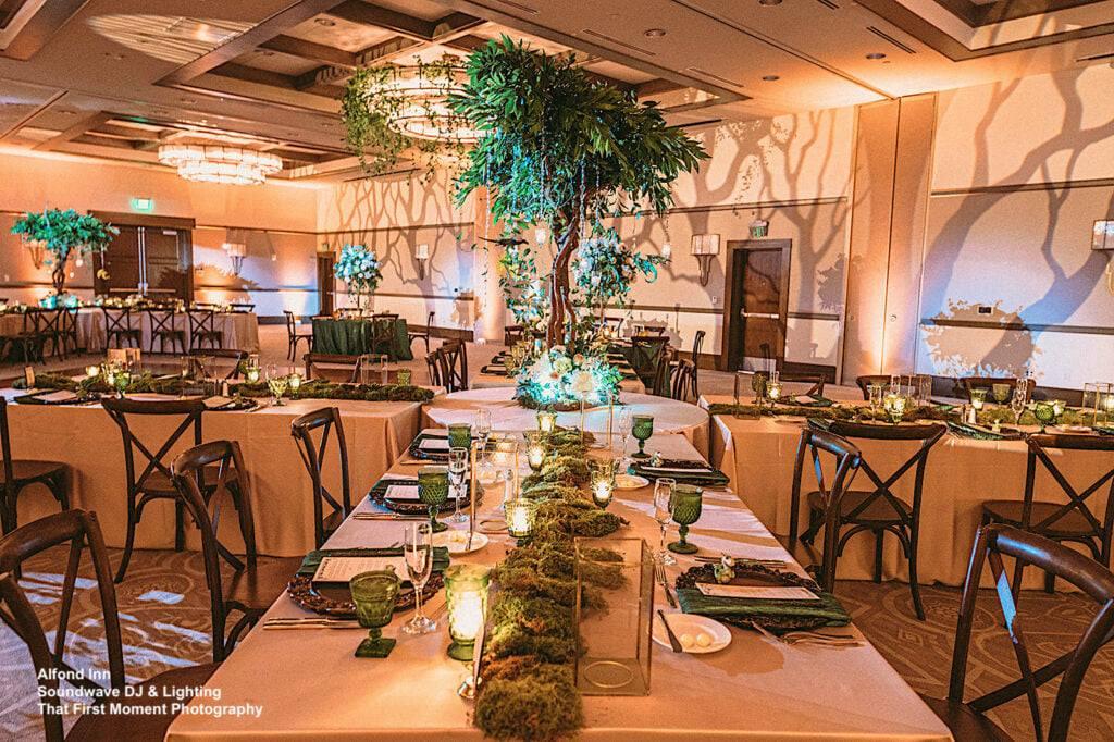 enchanted wedding at alfond inn soundwave reception tables